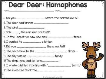 Dear Deer A Homophones Matching Center
