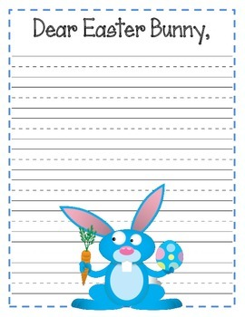 Dear Easter Bunny Bulletin Board Set and Writing Assignment Prompt