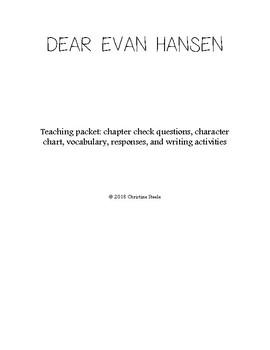 Dear Evan Hansen unit curriculum packet