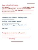 Dear Future First Grader