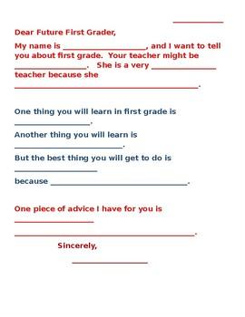 Dear Future First Grader