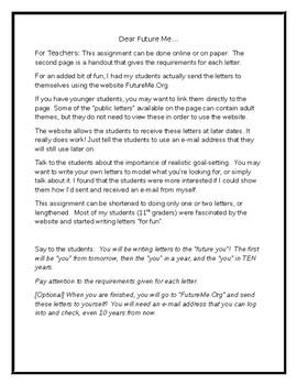 Dear Future Me by JPhil | Teachers Pay Teachers
