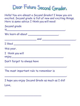 Dear Future Second Grader