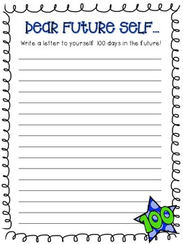dear future self 100th day of school writing prompt