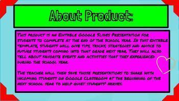 Dear Future Student End of Year Google Slides Project