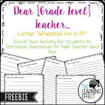 Dear Grade Level Teacher Letter - FREE