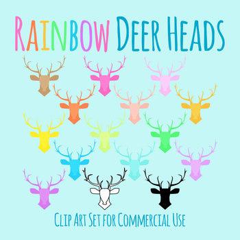 Dear Head Outlines Clip Art Set for Commercial Use