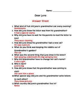 Dear Juno Comprehension Sheet