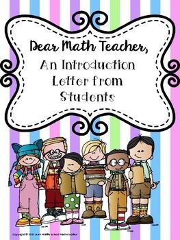 Dear Math Teacher, a Student Introduction Activity