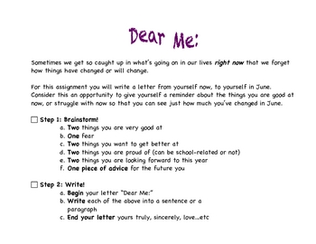 'Dear Me' - Reflection & Goal-setting letter