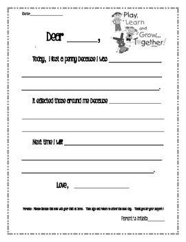Dear Mom.  Behavior letter.  From student to Parent