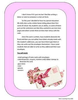 Dear Mom and Dad---A Letter Writing Activity
