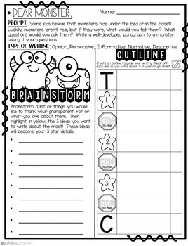 Dear Monster,  Friendly Letter Step-Up Paragraph Packet