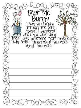 Dear Mr. Bunny Writing Prompt