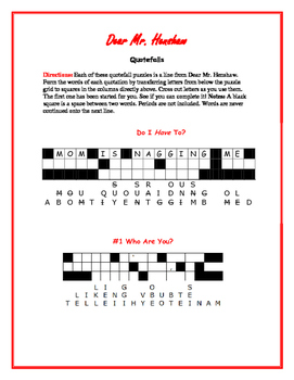 Dear Mr. Henshaw: 10 Quotefall Puzzles—Great spelling workout!