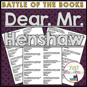 Dear Mr. Henshaw Battle of the Books Trivia Questions
