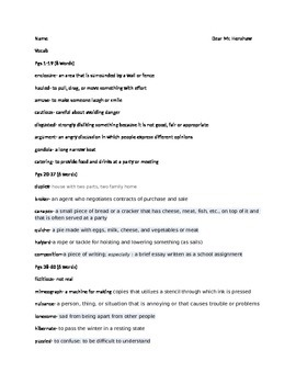 Dear Mr Henshaw Book Vocabulary
