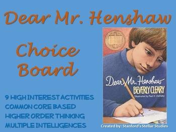 Dear Mr. Henshaw Choice Board Novel Study Activities Book Project Tic Tac Toe