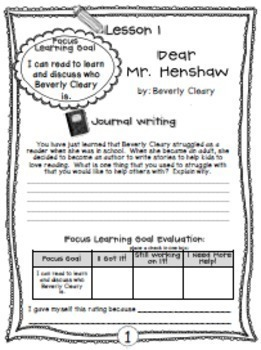 Dear Mr. Henshaw:  Complete Novel Unit {Common Core}