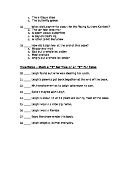 Dear Mr. Henshaw Final Test