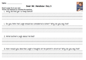 Dear Mr. Henshaw (Level Q) Guided Reading Lesson