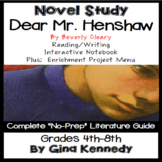 Dear Mr. Henshaw Novel Study & Enrichment Project Menu