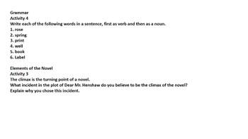 Dear Mr. Henshaw Novel Study Guide