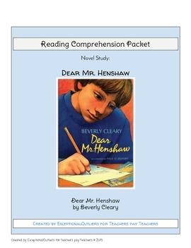 Dear Mr. Henshaw Novel Study Reading Comprehension Questions