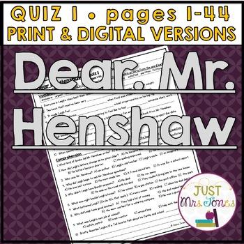 Dear Mr. Henshaw Quiz #1 (p. 1-44)