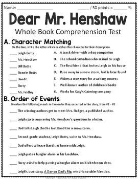 Dear Mr Henshaw Worksheets - Checks Worksheet