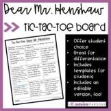 Dear Mr. Henshaw Tic-Tac-Toe Activity Sheet
