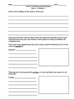 Dear Mr. Henshaw Unit, Quiz, Test, Flash Cards, Trivia Review PowerPoint