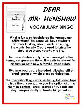 Dear Mr. Henshaw Vocabulary Bingo