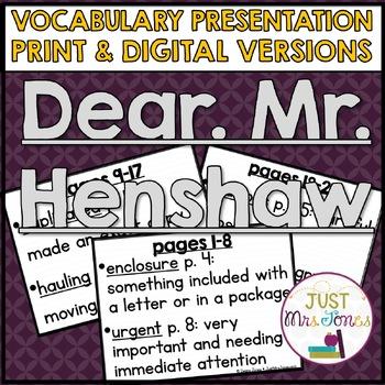 Dear Mr. Henshaw Vocabulary Presentation