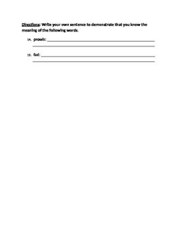Dear Mr. Henshaw Vocabulary Quiz