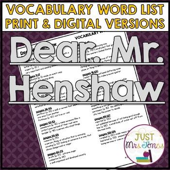 Dear Mr. Henshaw Vocabulary Word List
