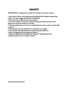 Dear Mr. Henshaw Vocabulary and Comprehension Questions Novel Study