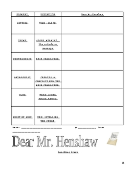 Dear Mr. Henshaw by Beverly Cleary Complete 30 Page Literature Unit