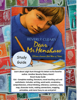 Dear Mr. Henshaw by Beverly Cleary ELA Novel Study Guide Unit Complete!