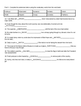 Dear Mr. Henshaw by Beverly Cleary Vocabulary Test and Practice