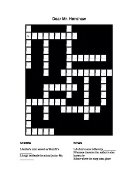 Dear Mr. Henshaw review crossword