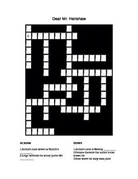 Dear Mr. Henshaw review crossword