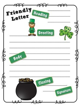 Dear Mr. Leprechaun--A friendly letter writing activity