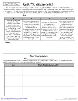 Introduction to Shakespeare Writing Activity: Friendly Letter