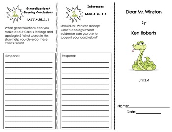 Dear Mr. Winston Comprehension Pack/ Journeys Common Core