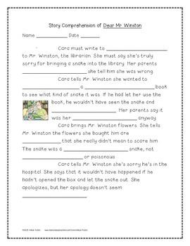 Dear Mr. Winston Supplemental Activities 4th Grade Journeys Unit 2, Lesson 9
