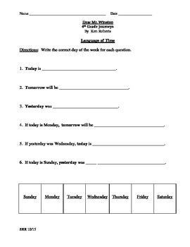 Journeys Common Core 4th- Dear Mr. Winston Supplemental Packet for the SLP