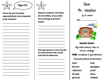 Dear Mr. Winston Trifold - Journeys 4th Grade Unit 2 Week