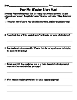 Dear Mr. Winston Worksheet