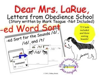 Dear Mrs. LaRue, Letters from Obedience School suffix -ed word sort
